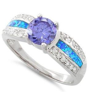 Sterling Silver Lab Opal Round Tanzanite CZ Ring